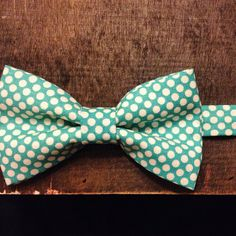 Overboard  Teal Polka Dot Bow Tie, by Rae Arts on Etsy