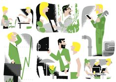 Illustrationsby Jukka Pylväs  for ReCoTech Magazine. ReCoTech Meetup is a side-event for startup event SLUSH.