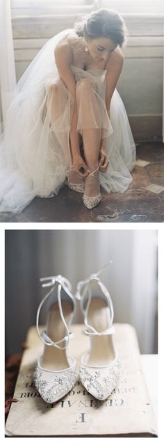 We love the way our Bella Belle crystal embroidered sparkly wedding shoes look on our #RealBride Elan. The gorgeous elegant and comfortable wedding heels is perfect for brides who are glamorous, vintage and want to look like Cinderella for their destination Italy wedding, matched perfectly with a tulle ballgown wedding dress with crystal beads and a heartshape neckline.   Photography by Kurt Boomer #weddingshoes