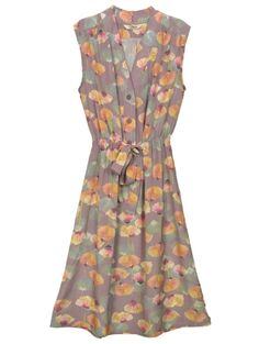 Sleeveless tied waist flowered dress. Are those poppies?  I'm in love.