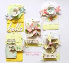 Ever so sweet tags from #Dear Lizzy collection by @Lesley Langdon using #GlueArts Adhesives gluearts.blogspot.com