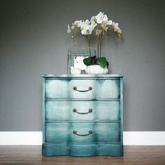 """*SOLD* I think I painted this piece about four times to make friends with the drips! This three drawer chest measures 15.5x29, 29"""" tall. Would be a great nightstand or entry piece. $175. Available soon at MV! -Tara #modernvintage #dothedionne #practicepractice #himooch #drippy #furnitureart #water #blue #shopsmall in #hartvilleohio"""