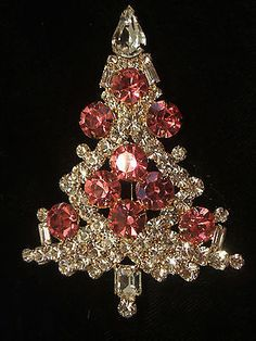 Rare  Pink  Christmas  Tree  Pin / Brooch NIB  - Signed EISENBERG ICE