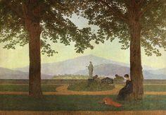 Caspar David Friedrich - Gartenterrasse (Schlossterrasse, Blick von der Terrasse des Schlosses Erdmannsdorf) - Caroline Friedrich – Wikipedia