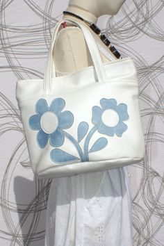 1970s white blue floral vegan tote bag by StarShineVintage on Etsy