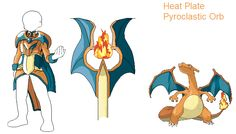 Charizard stuff. Charizard, as well as the other Chars have a sword item as well, but his and Charmander's had been previously designed by one of my predecessors. Why he didn't do Charmeleon's, I d...