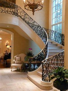 Foyer decorating – Home Decor Decorating Ideas Stair Railing Design, Home Stairs Design, Foyer Design, Dream Home Design, Home Interior Design, Railings, Luxury Staircase, House Staircase, Staircases