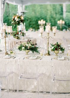 Lucite chairs and glam table accents: http://www.stylemepretty.com/destination-weddings/2016/04/09/christmas-inspired-wedding-in-mountains-of-honduras/ | Photography: Vicki Grafton - http://vickigraftonphotography.com/
