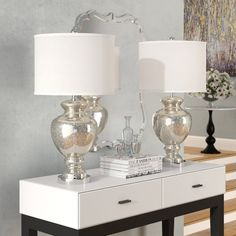 Arden Modern Table Lamps Set of 2 Green Blue Glass Twist Column Steel Base Empire Shade for Living Room Family Bedroom - Regency Hill Table Lamp Wood, Table Lamp Sets, Glass Table, Drum Shade Chandelier, Compact Fluorescent Bulbs, Entryway Console, Living Room End Tables, Bed Linen Design, Contemporary Table Lamps