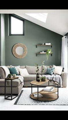 If you want to create a calming space to relax in, GO GREEN! 🌿It symbolises nature and boosts tranquility!AAAAND breathe out. Sage Living Room, New Living Room, Home And Living, Living Room Decor Green Walls, Living Room Color Schemes, Living Room Designs, Living Room Inspiration, Room Colors, Home Decor