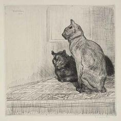 Deux Chats Sur Un Meuble (1914) ~*~ Theophile Alexandre Steinlen