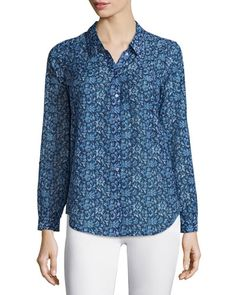 Joie Katrine Floral Tab-Sleeve Blouse, Dark Navy New offer @@@ Price :$218 Price Sale $99