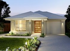 51 Ideas For House Design Exterior Single Story Brick Narrow House Designs, Narrow Lot House Plans, Garage House Plans, House Front Design, Small House Design, Modern House Design, Style At Home, Facade House, House Facades