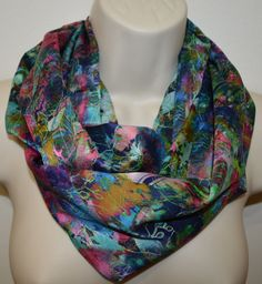 Multicolor flower print infinity scarf women by byJuliasDesigns
