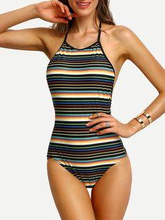Colorful Stripe Halter Backless One-Piece Swimwear -SheIn(Sheinside) Mobile Site