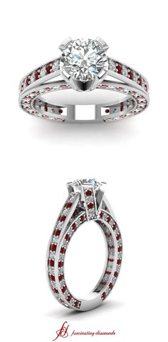 Studded Grandeur Ring || Round Cut Diamond Side Stone Ring With Red Ruby In 14k White Gold