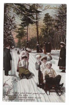 Antique Christmas Postcard Toboggans in the Snow  Posted 1910 375C