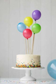 Birthday cake decorated with colorful balloons by Ruth Black: Birthday cake decorated with colorful balloons by Ruth Black