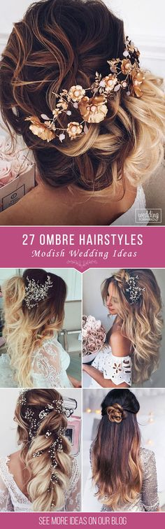 27 Modish Ombre Wedding Hairstyles ❤ Ombre wedding hairstyles are on trend this year. Here are sizzling solutions for black, brown and blond hair. Technique looks good on long and short hair. See more: http://www.weddingforward.com/ombre-wedding-hairstyles/ #weddinghairstyles #ombreweddinghairstyles