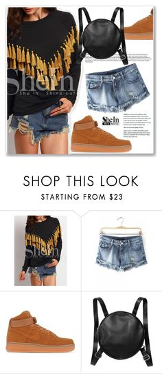 """""""SheIn"""" by amra-mak ❤ liked on Polyvore featuring NIKE, Monki, women's clothing, women, female, woman, misses, juniors and shein"""