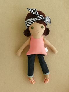 Fabric Doll Rag Doll Brown Haired Girl in Coral Top by rovingovine