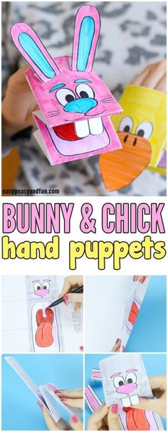 Printable Bunny and Chick Puppets Easter Craft for Kids