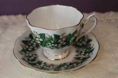 QUEEN ANNE TEA CUP AND SAUCER - LILY OF THE VALLEY