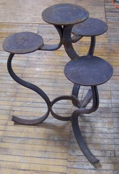 Vintage  Indoor/Outdoor Iron Plant Stand...Recycled Farm Tractor Plow Tine Display Stand...Masculine Man Cave...Handmade...Welded Stand