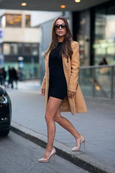 black dress with nude coat