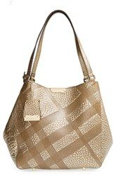 Burberry 'Small Cantebury' Check Embossed Metallic Leather Tote