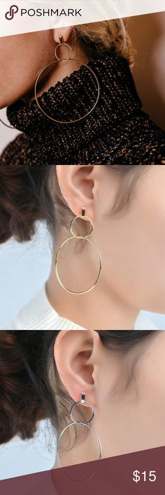 Dainty Double Karma Circle Stud Earrings Very elegant! Lightweight delicate Fashion Earrings! Double Hoop Round Circles! Brand new in bag from maker.   Material: r gold-plated alloy, Length: 2.36 inch Jewelry
