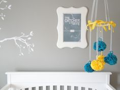 dorian gray sherwin williams -- looks good with yellow and teal! More