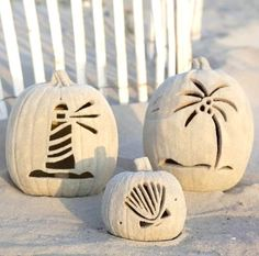 Best beach pumpkins. Carved, then rolled in the sand. Featured on BBL: http://beachblissliving.com/beach-pumpkins-fall/