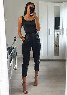# going out Outfits Faux Leather Wet Look D Ring Belted Trouser Black Prom Outfits For Guys, Casual Bar Outfits, Going Out Outfits, Night Outfits, Casual Shirt, Casual Night Out Outfit, Vegas Outfits, Nye Outfits, Leather Trousers Outfit