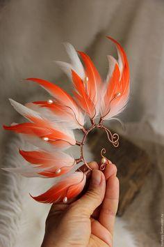 """Купить Кафф с перьями """"Богиня Солнца"""" - перья в волосы, украшение для волос, УКРАШЕНИЯ С ПЕРЬЯМИ"""