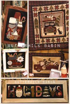 Buttermilk Basin Penny Rug Patterns, Wool Applique Patterns, Felt Applique, Applique Quilts, Applique Ideas, Christmas Fabric Crafts, Christmas Applique, Christmas Sewing, Felt Christmas