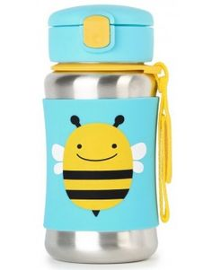 Skip Hop Bee Zoo Stainless Steel Straw Bottle 350ml $34.95 www.mamadoo.com.au #mamadoo #backtoschool #drinkbottle