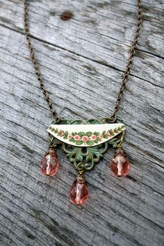 Sweet Love Vintage Tin Necklace Floral Pink Patina Sweet Sage Jewelry.  via Etsy.