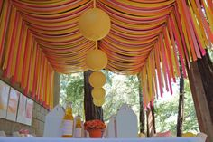 Awesome ceiling treatment for a party in the garage. Check out all those beautiful streamers! Friday Feature- You Are My Sunshine Streamer Decorations, Party Streamers, Birthday Decorations, Wedding Decorations, Garage Party Decorations, Streamer Ideas, Ceiling Streamers, Yellow Decorations, Ceiling Canopy