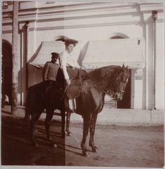 "Anna  Alexandrovna Vyrubova on a horse. ""AL"""