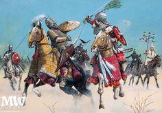 Batalla de Caballeros de la Edad Media.