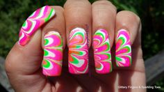 Glittery Fingers & Sparkling Toes: Summer Neon Water Marble
