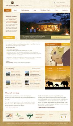 Website for an East African Safari company. Live site can be viewed at http://Hemingways-Expeditions.com