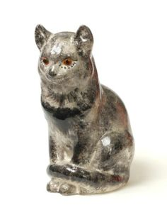 WELSH STUDIO POTTERY CAT WITH GLASS EYES