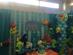 Finding Nemo Birthday Party Ideas | Photo 1 of 18 | Catch My Party 3rd Birthday Parties, 2nd Birthday, Birthday Ideas, Under The Sea Party, Finding Dory, First Birthdays, Jr, Projects To Try, Swim