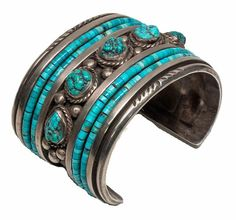 Leroy Begay (Navajo). Silver and turquoise cuff. ca. 1970.