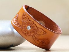 Hand Carved Leather Flower Bracelet  Floral by TinasLeatherCrafts. Repin To Remember.