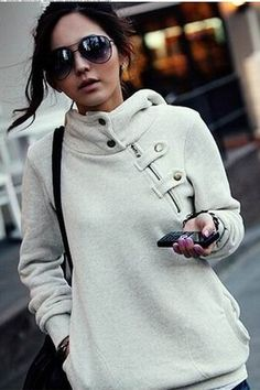 New Womens Pullover Hoodie Jacket Short Fashion Zip Button Jumper Top Coat