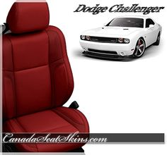All New Dodge Challenger Red Leather Interior - Replacement Upholstery Kit for Your Factory Cloth or Leather - canadaseatskins.com Free Shipping to the US and Canada #challenger #dodge #leatherseats #automotiveleather