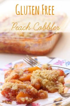 Gluten Free Peach Cobbler! SO simple! #flakey #crispy